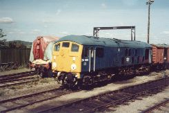 Solihull Model Railway Circle - Class 24 No. 24081 in BR rail blue livery, on shed at Toddington on the Gloucester and Warwickshire Railway, 1st September 2002